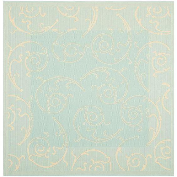 Courtyard Aqua/Cream (Blue/Ivory)