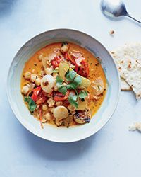 Chickpea Vegetable Stew With coconut milk and harissa. (make it with veg broth).