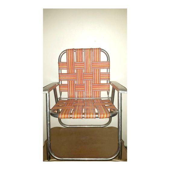 Kids Lawn Chair,Woven Lawn Chair,Beach Chair,Childs Lawn Chair,Aluminum  Chair,Orange Lawn Chair,Retro Lawn Chair,Kitsch,Webbed Lawn Chair