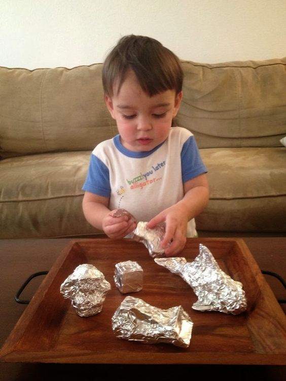 Foil and Toys: Fine Motor Activity