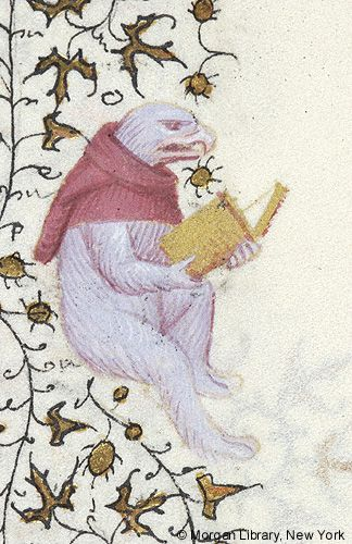 Hybrid eagle, holding open book | Book of Hours | France, Paris | ca. 1420-1425 | The Morgan Library & Museum