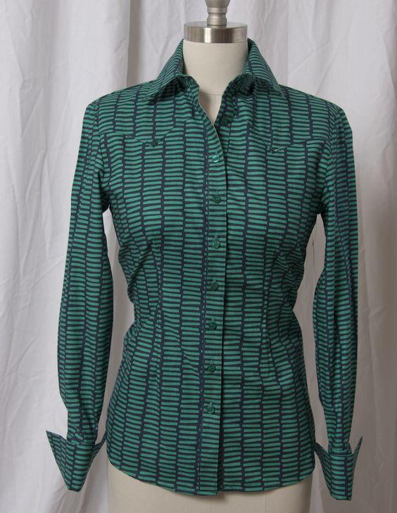 Women's Blue Green Bar Print Western Shirt