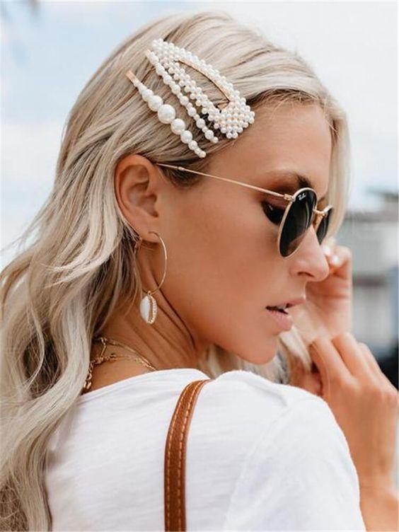 Fashion Simple Pearl Metal Hair Clip