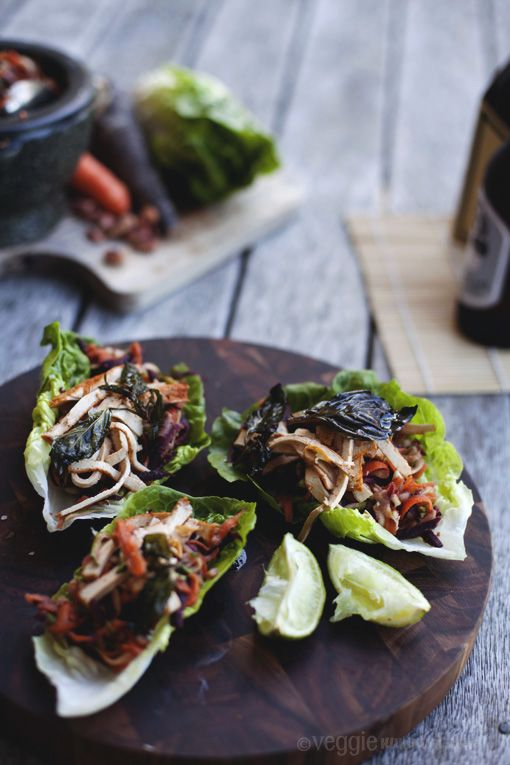 Make these spicy, savory #vegan Lettuce Wraps with Ginger, Carrot, and Shredded Tofu tonight for the perfect #healthy summer dinner.