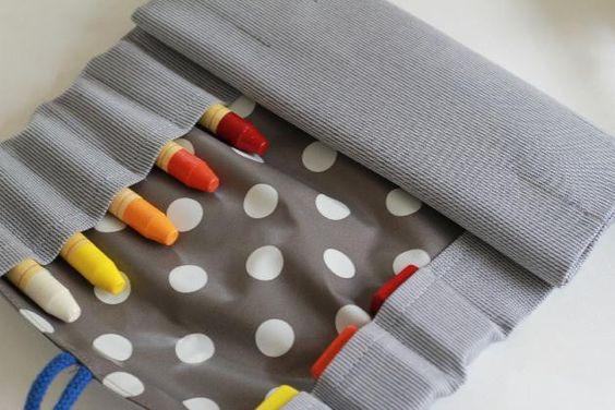 """Etuis & Mäppchen - Rollmäppchen/ Stifterolle """"Streifen und Punkte"""" - ein Designerstück von billinchen bei DaWanda"""