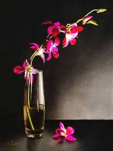 """Daily Paintworks - """"Still Life with Orchids"""" - Original Fine Art for Sale - © Jacqueline Gnott"""