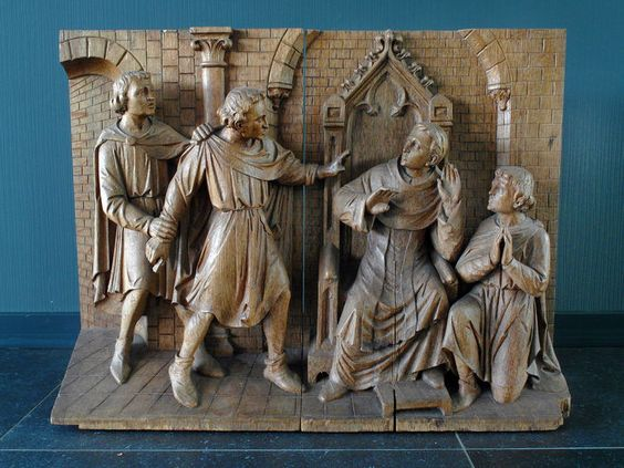 Gothic Revival: oak would group statue - 2nd half of 19th century The Netherlands