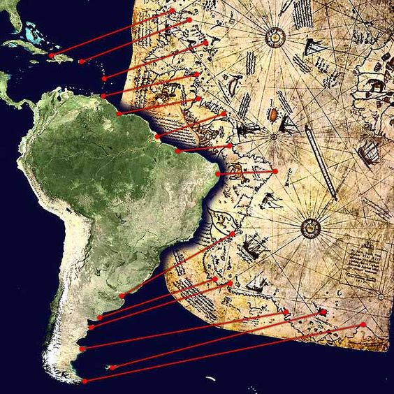 """Piri Reis Map Comparing South America. One of the most fascinating things is this map exists even before S. America was """"discovered"""""""