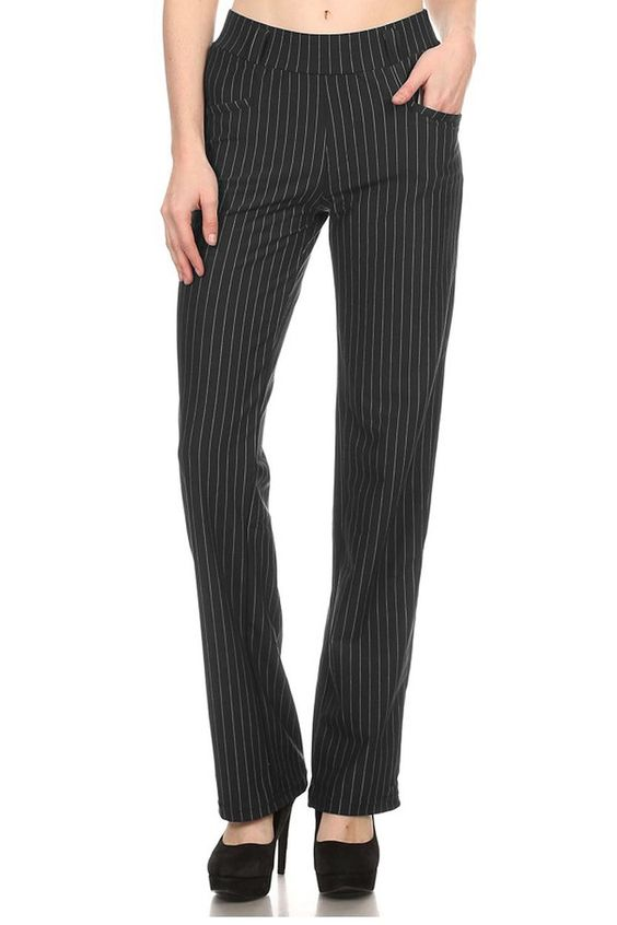VIV Collection Straight Fit Stretchy Pinstripe Trousers - Black (Pinstripe)