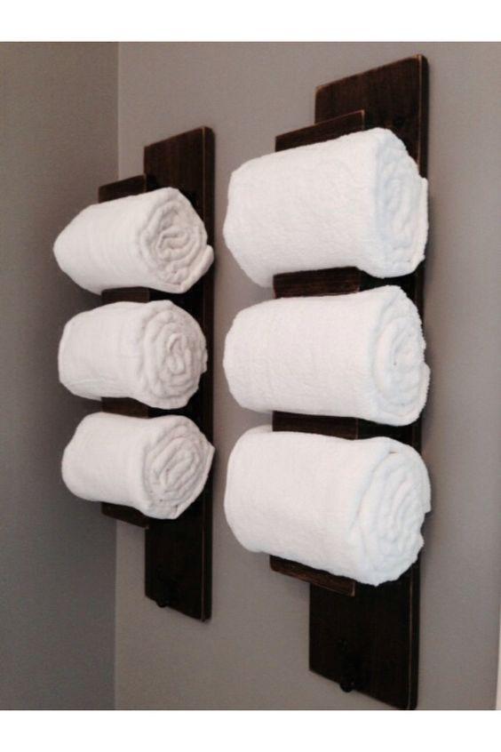 Bathroom towel racks Wooden bathroom and Towel
