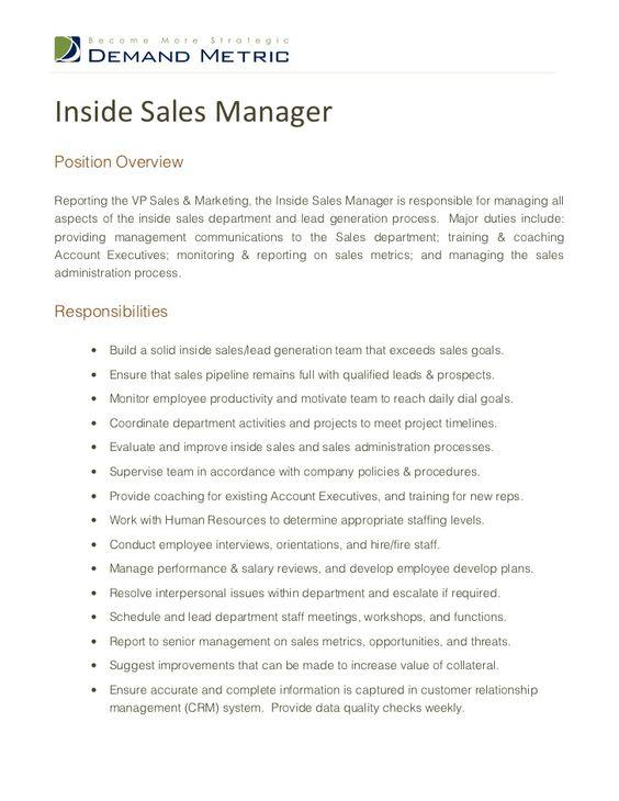 inside sales job description inside sales Pinterest Job - sales job description