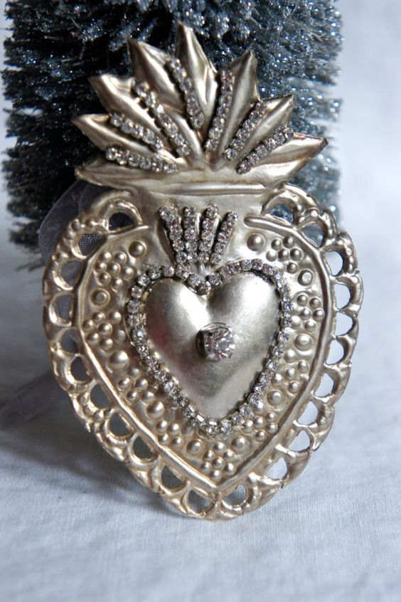 Ex voto heart ornament decorated with rhinestones by mysweetmaison on Etsy.