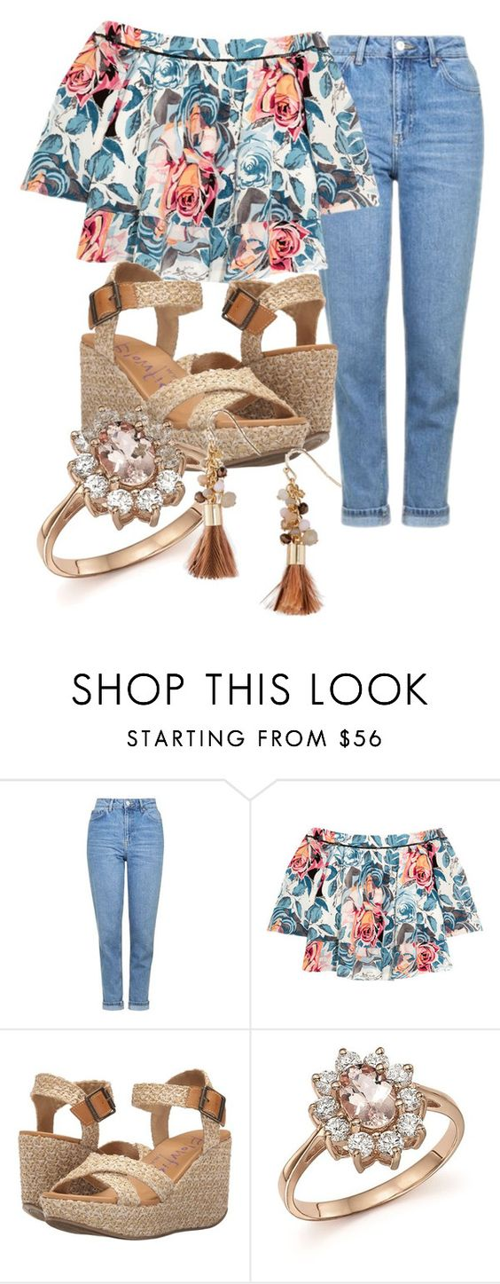"""""""Floral Friday"""" by mahakury ❤ liked on Polyvore featuring Topshop, Elizabeth and James, Blowfish, Bloomingdale's and Express"""