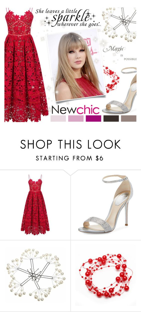 """#newchic #SparkleDress"" by juromi ❤ liked on Polyvore featuring WALL, René Caovilla, chic, New and newchic"
