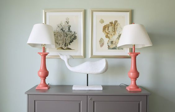 Kirsten Krason reveals a dining area that she styled for a model home, using our white whale and coral artwork.