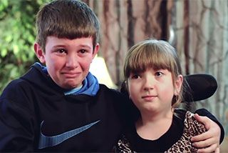 Lindsay Cochran was born with spinal muscular atrophy, a rare disorder that necessitated the use of a wheelchair when she was just two years old.  Her older brother, Trenton, has stood by her as her best friend, defender and source of emotional support.Watch this heartwarming video and be moved by the pure love these siblings have for each other.