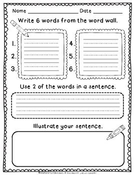 Writing Station Activities for Young Learners-Students will write down sight words from their word wall for their grade level, Kindergarten or First Grade to complete this activity.