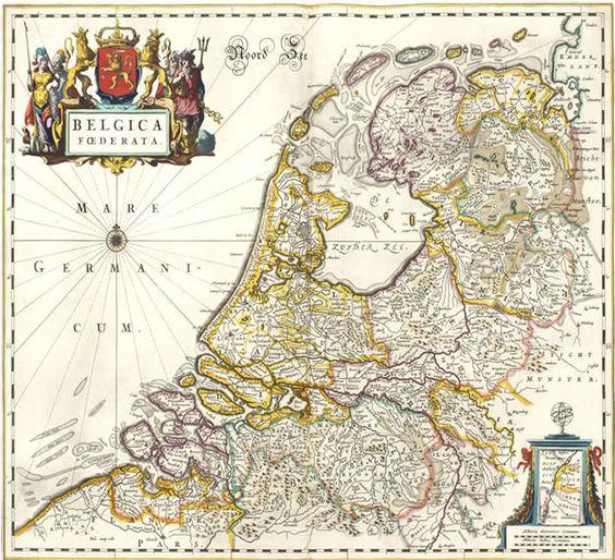 Belgica Foederata (de noordelijke Nederlanden) Atlas Maior, Joan Blaeu, 1662. Copyright Edugis.nl on Pinterest