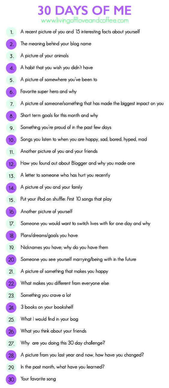 Get to know the person behind the blog in this 30 day writing challenge. Perfect for bloggers to let their audience get to know them or for any social media platform!