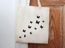 Jute, Beutel, Jutebeutel, Shopper, Hipster, Blogger, Schmetterlinge, Butterflies