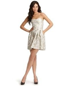 Cynthia Steffe Strapless Metallic Dress Sz 12 | eBay
