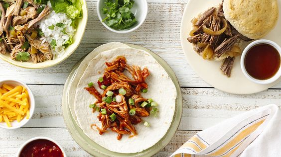 Slow-Cooker Mexican Pork Burrito Bowls, Slow-Cooker Shredded Mexican Chicken, Slow-Cooker Pulled Beef Sammies