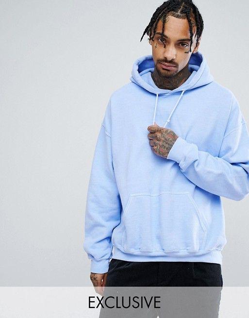 Reclaimed Vintage Inspired Oversized Hoodie In Light Blue Mens Sweatshirts Hoodie Hoodies Men Blue Hoodie Men