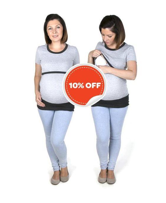 ALICE 3in1 Maternity Pregnancy Sweatshirt Multifunctional Nursing Breastfeeding TUNIC TOP with zippers GreyMint Butterflies
