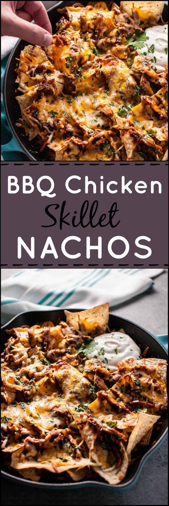These BBQ chicken skillet nachos are fast BBQ Chicken Skillet Nachos