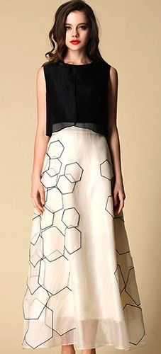 Contrast Color Hexagon Print High Waist Maxi Tank Dress