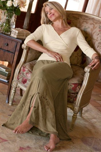 softsurroundings.com / Sydney Sand-washed Skirt....love the buttoned slit detailing