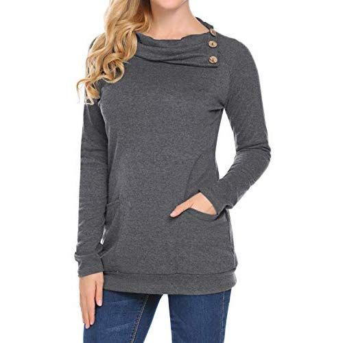 Womens Long Sleeve Elbow Patch Button Cowl Neck Pullover Casual Tunic Sweatshirt Tops