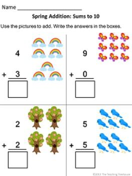 Addition Worksheets : horizontal addition worksheets kindergarten ...