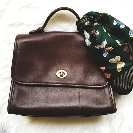 Vintage Coach Purse Super vintage bag! In gently used condition. Doesn't come with strap. Would look great when restored or used now and embrace the character. Mahogany brown with brass hardware. Comes with original paperwork. Clean inside & out. No PayPal or trades! Coach Bags Satchels