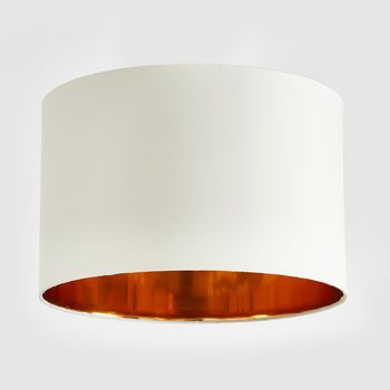 Natural cream and copper drum lampshade by horsfall wright at notonthehighstreet com