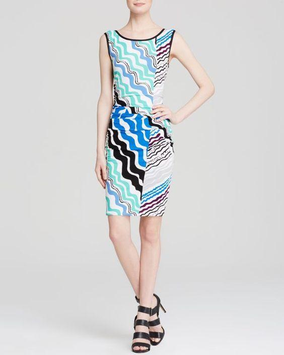 Tracy Reese Dress - Sleeveless Printed Jersey Cutout Back Sheath