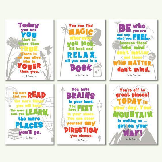 Dr seuss quotes motivational quotes kids room wall art for Inspirational quotes for kids room