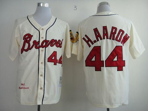 768def9e ... Authentic Jersey Mitchell And Ness 1963 Braves 44 Hank Aaron Cream  Throwback Embroidered Baseball Jersey ...