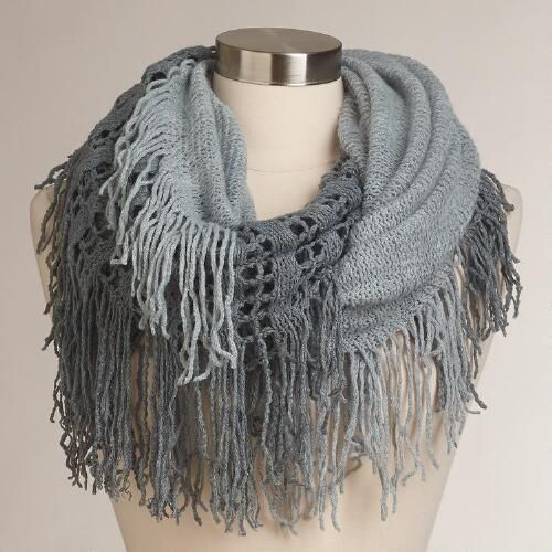 One of my favorite discoveries at WorldMarket.com: Gray Two-Tone Infinity Scarf with Fringe