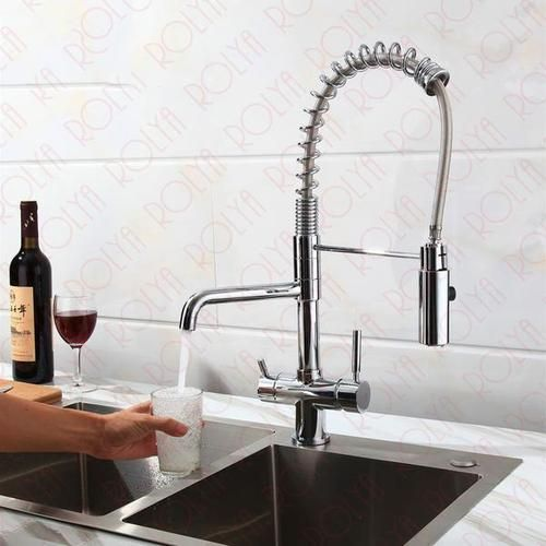 Tri Flow Kitchen Faucet With Sprayer Hose Gooseneck Solid