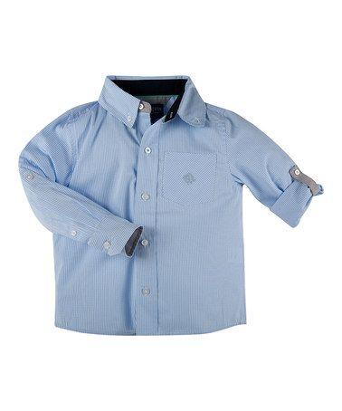Love this Light Blue Mini Check Button-Up - Toddler & Boys on #zulily! #zulilyfinds