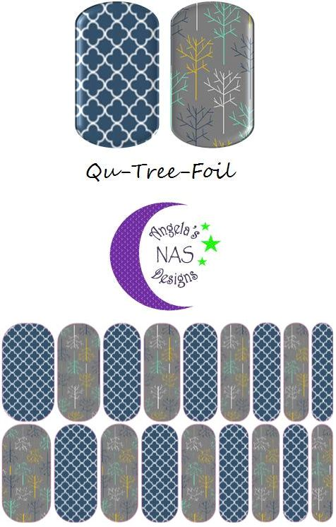 Qua-Tree-Foil Jamberry Nail Art Studio. Angela's NAS Designs. Quatrefoil Nails, Tree Nails. Fall Nails.