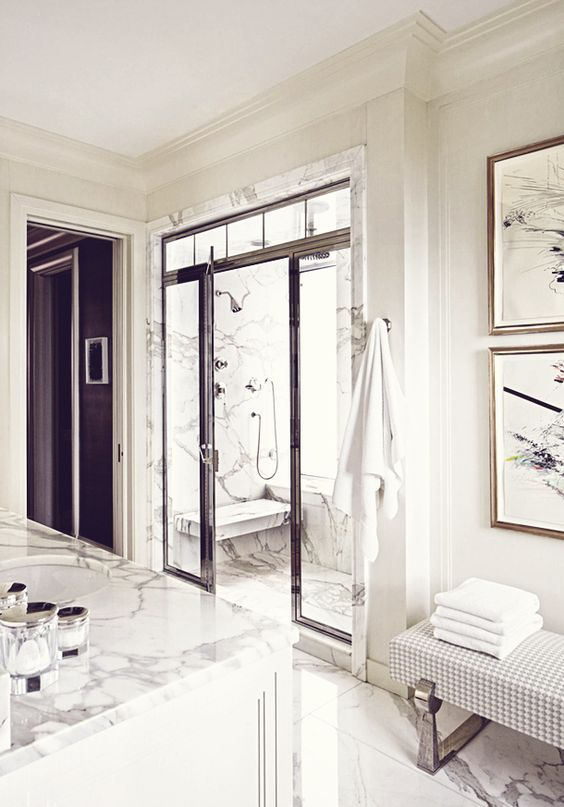 White Bathroom Marble Style Interiors Bench