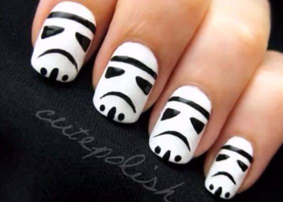 """Stormtrooper nails. Site has a YouTube video with """"Darth Vader's"""" voice teaching you how to do this simple design. - DIY nail art designs. #starwars"""