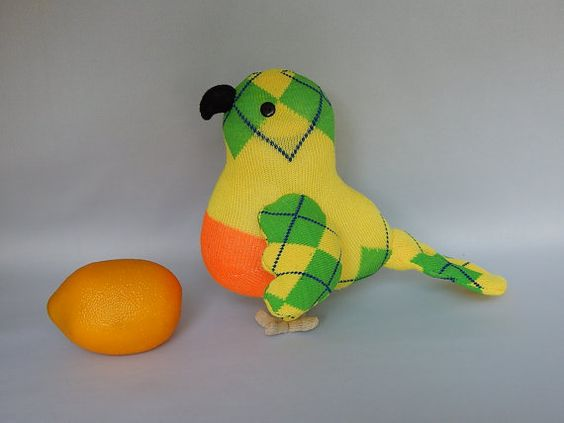 Parrot Plush Toy Bird Stuffed Animal Plushie Sock by SockSockWorld