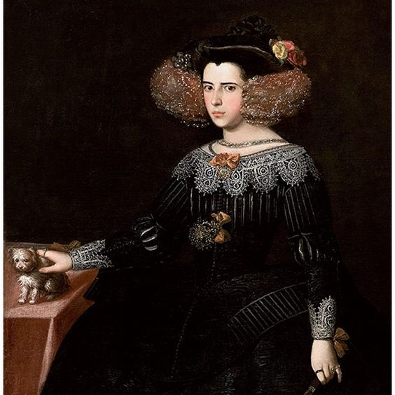 During the first part of the XVII century, Portugal and its empire where parat of the Spanish empire and once they got independent, they continued to follow the Spanish court fashion. Luisa de Guzmán/Luísa de Gusmão por és ñola