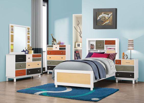 Lemoore White Wood 4pc Kids Bedroom Set w/Twin Bed