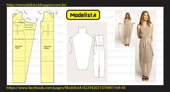 Illustration showing how to create a pattern for this dress using a standard sheath dress pattern.