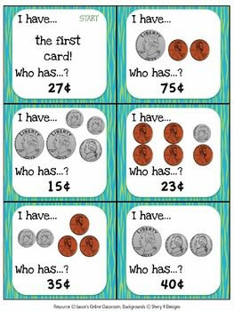 Free I Have/Who Has Game ~ Counting Coins.  Great for a quick review!