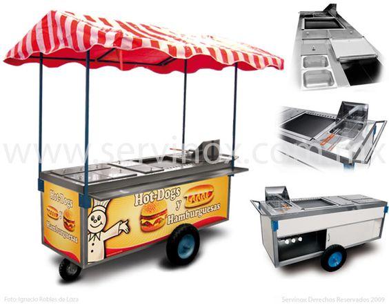 Carrito Para Hot Dogs Y Hamburguesas Mod CH 190  Caracteristicas:  Carro térmico con cubierta de Acero Inoxidable  Incluye:  Freidora c/canastilla, Plancha, Vaporera,  Tres insertos p/verdura,  Repisa para comensal,  Hielera,  Toldo y  Lona.